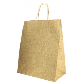 Buste Shopper Carta Kraft Naturale 80g 26+14x32cm (50 Pezzi)