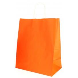 Buste Shopper in Carta Arancione 80g 26+14x32 cm (50 Pezzi)