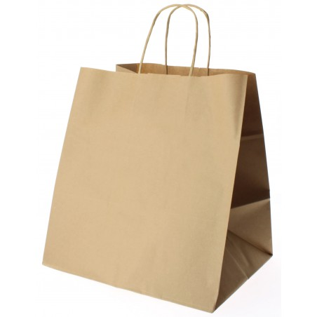 Buste Shopper in Carta Marrone 80g 26+20x27 cm (50 Pezzi)