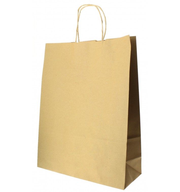 Buste Shopper in Carta Hawanna 100g 32+12x41 cm (200 Pezzi)