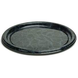Piatto di Plastica Tondo Marmo 18 cm (25 Pezzi)