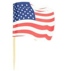"""Spiedi in Legno Bandiera """"USA"""" 65mm (144 Pezzi)"""