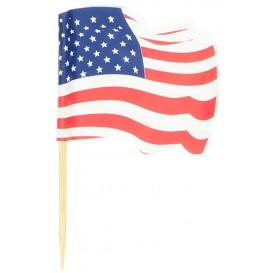 """Spiedi in Legno Bandiera """"USA"""" 65mm (14.400 Pezzi)"""