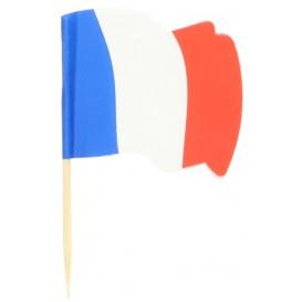 """Spiedi in Legno Bandiera """"Francia"""" 65mm (14.400 Pezzi)"""