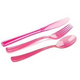 Set Posate Plastica Forchetta, Coltello, Cucchiaio Lampone (20 Kits)