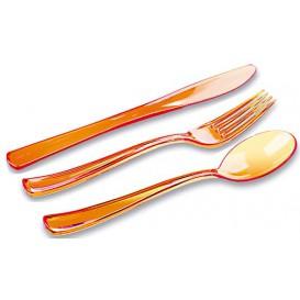 Set Posate Plastica Forchetta, Coltello, Cucchiaio Arancione (1 Kit)