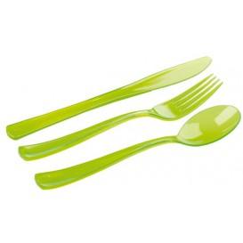 Set Posate Plastica Forchetta, Coltello, Cucchiaio Verde (20 Kits)