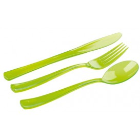 Set Posate Plastica Forchetta, Coltello, Cucchiaio Verde (1 Kit)