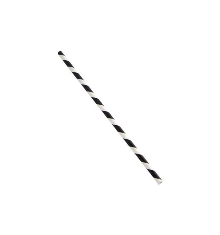 Cannucce Dritta di Carta Nero Bianco Ø6mm 20cm (6000 Pezzi)