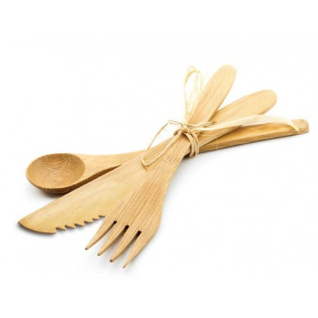 Set Posate Bambu Forchetta, Coltello e Cucchiaio (250 Pezzi)
