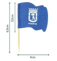 """Spiedi in Legno Bandiera """"Madrid"""" 65mm (144 Pezzi)"""