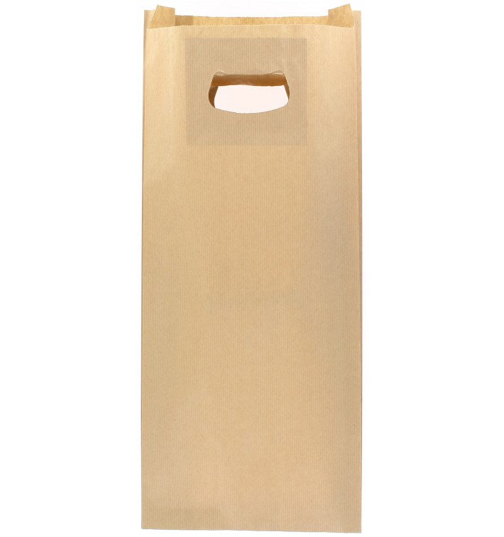 Sacchetti Carta Kraft Manico Fagiolo 18+6x32cm (500 Pezzi)