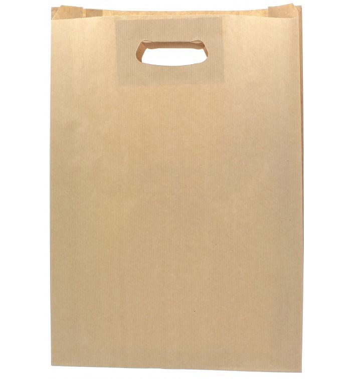 Sacchetti Carta Kraft Manico a Fagiolo 31+8x42cm (50 Pezzi)