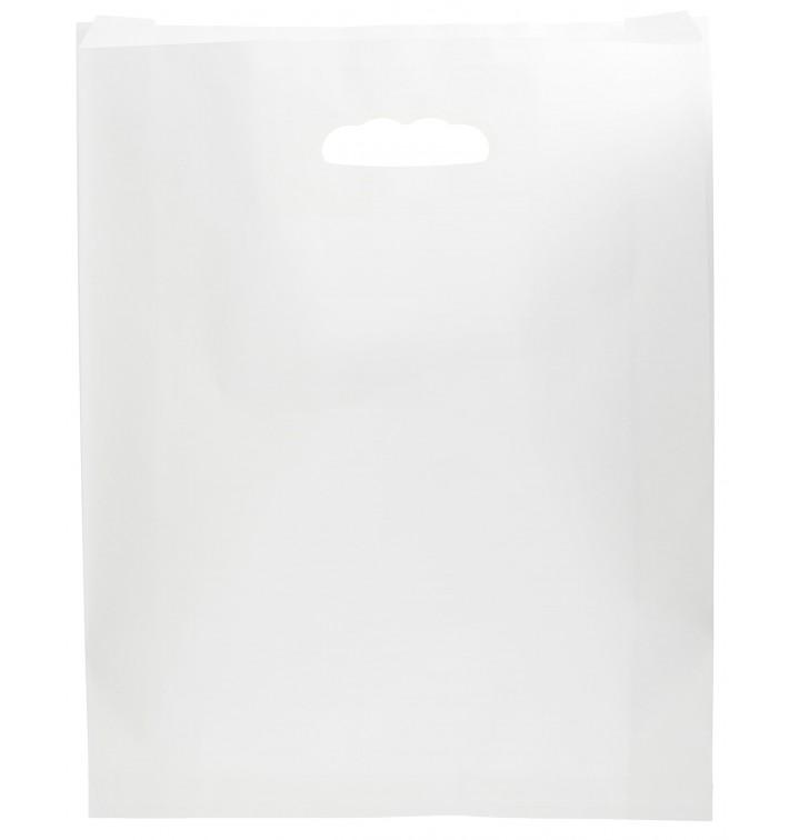 Sacchetti Carta Bianco Manico Fagiolo 41+10x42cm (50 Pezzi)