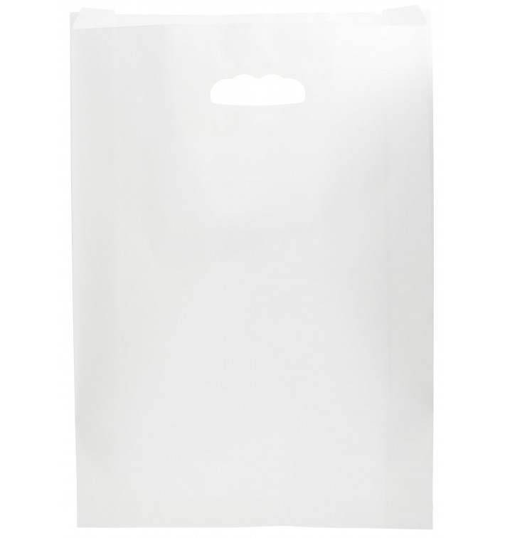 Sacchetti Carta Bianca Manico Fagiolo 31+8x42cm (250 Pezzi)