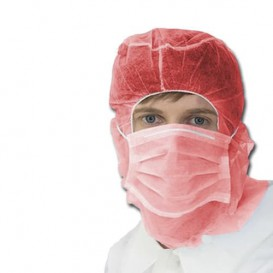 Cuffia integrale con mascherina 3 Strati Rosso (500 Pezzi)