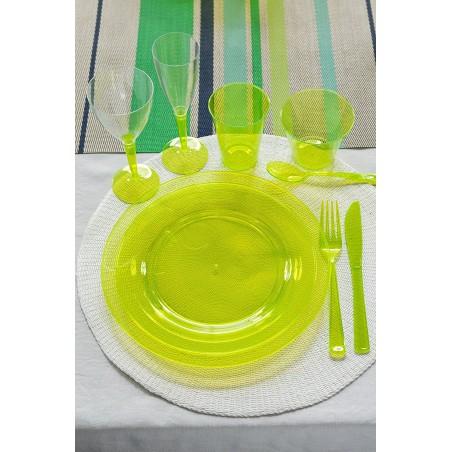 Piatto Plastica Tondo Rigida Verde 23cm (90 Pezzi)