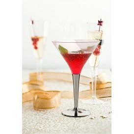 Coppa di Plastica Cocktail con Gambo Argento 100 ml (6 Pezzi)