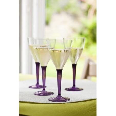 Calice di Plastica Vino Gambo Melanzana 130ml (60 Pezzi)