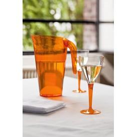 Calice di Plastica Vino Gambo Arancione 130ml (6 Pezzi)
