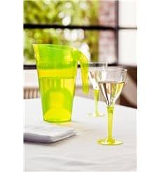Calice di Plastica Vino Gambo Verde 130ml (6 Pezzi)