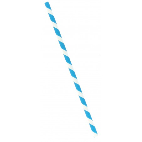 Cannuccia Dritta Carta Blu Bianco Ø6mm 20cm (100 Pezzi)