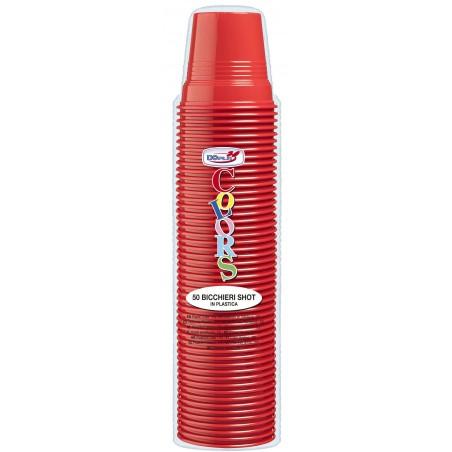 Bicchiere di Plastica PS Rosso 80ml Ø5,7cm (1500 Pezzi)