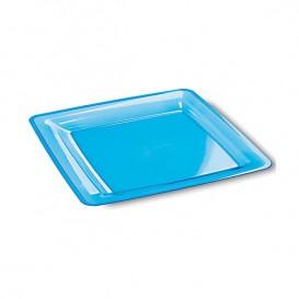 Piatto Plastica Rigida Quadrato Turchese 18x18cm (108 Pezzi)
