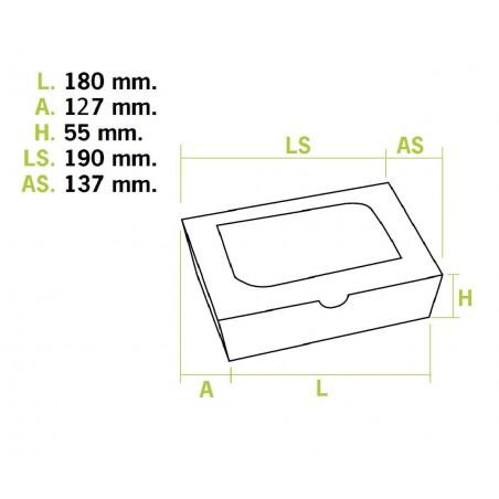 Scatola di Carta Kraft con Finestra 18x12,7x5,5cm 1000ml (175 Pezzi)