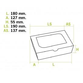 Scatola di Carta Kraft con Finestra 18x12,7x5,5cm 1000ml (25 Pezzi)