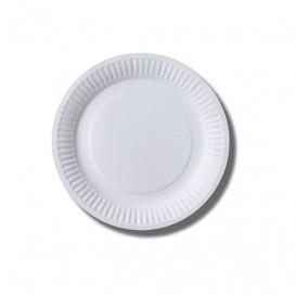 Piatto di Carta Biocoated Bianco Ø18 cm (100 Pezzi)
