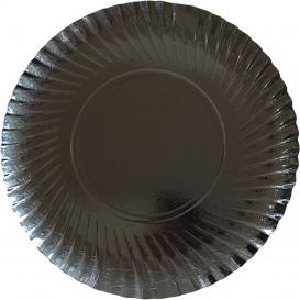Piatto di Carta Tondo Nero 250 mm (100 Pezzi)