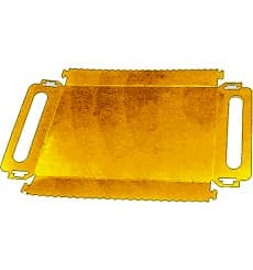 Vassoio Cartone Rettangolare Oro Maniglie 300x120x25 mm (600 Pezzi)