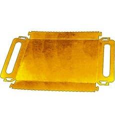 Vassoio Cartone Rettangolare Oro Maniglie 300x120x25 mm (100 Pezzi)