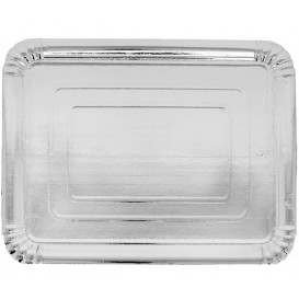 Vassoiodi Cartone Rettangolare Argento 12x19 cm (100 Pezzi)