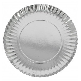 Piatto di Carta Tondo Argento 210 mm (800 Pezzi)