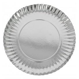 Piatto di Carta Tondo Argento 380 mm (50 Pezzi)