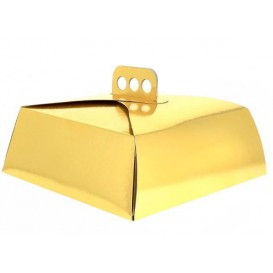Scatola di Carta Oro per Torte Quadrata 32,5x32,5x10 cm (100 Pezzi)