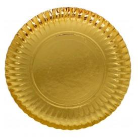 Piatto di Carta Tondo Oro 250 mm (100 Pezzi)