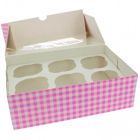 Scatola 6 Cupcakes con Inserto 24,3x16,5x7,5cm Rosa (100 Pezzi)