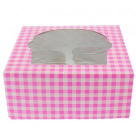 Scatola 4 Cupcakes con Inserto 17,3x16,5x7,5cm Rosa (20 Pezzi)