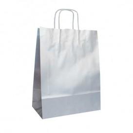 Buste Shopper in Carta Argento 100g 24+12x31 cm (50 Pezzi)