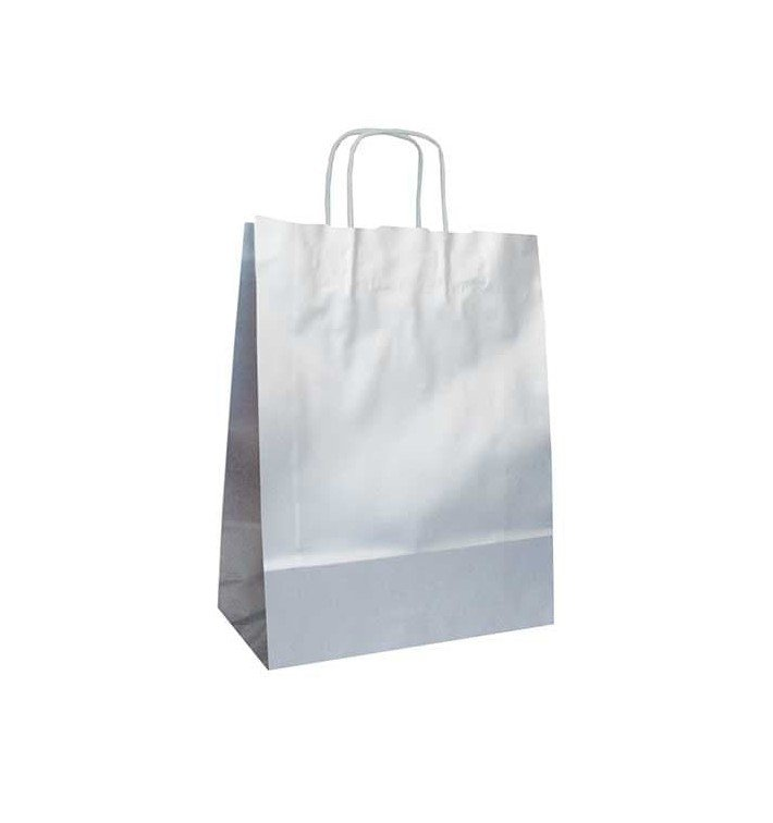 Buste Shopper in Carta Argento 100g 24+12x31 cm (250 Pezzi)