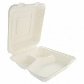Contenitori Canna Zucchero 3S Bianco 20x20x7,5cm (200 Pezzi)