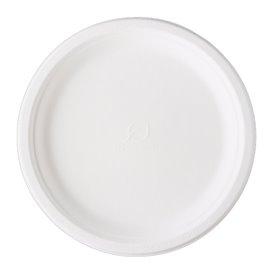 Piatto Canna da Zucchero Bagassa Bianco Ø25,3 cm (500 Pezzi)