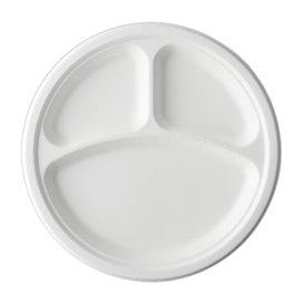 Piatto Canna da Zucchero Bagassa 3S Bianco Ø25,3 cm (50 Pezzi)