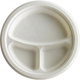 Piatto Canna da Zucchero Bagassa 3S Bianco Ø23 cm (50 Pezzi)
