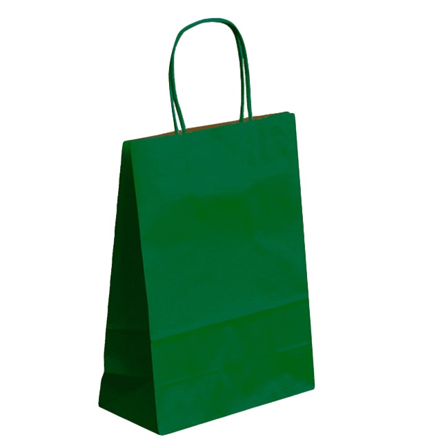 Buste Shopper in Carta Verde 80g 26+14x32 cm (50 Pezzi)