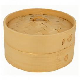 Cestello Cottura a Vapore Bambù con Coperchio Ø15x8cm (1 Pezzi)