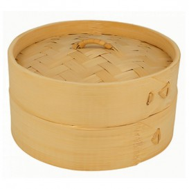 Cestello Cottura a Vapore Bambù con Coperchio Ø15x8cm (100 Pezzi)